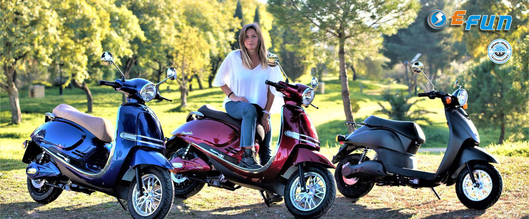 electric scooters-motorcycles Efun, Pusa, E2go